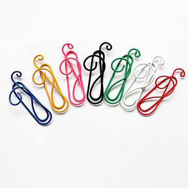 Musical Note Style Colorful Paper Clips (Random Color, 10-Pack)