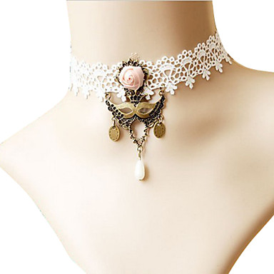 Fake Collar Alloy Antique Copper White Vintage Lace Necklace
