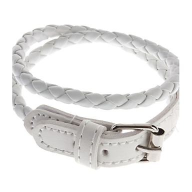 Lungo braccialetto di cuoio intrecciato (Bianco)
