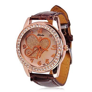 여자의 심혼 본 다이아몬드 장식용 목을 박은 가죽 밴드 석영 손목 시계