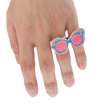 Eyes Shape Metal Double Loop Adjustable Ring(Pink)