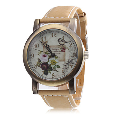 Unisex Flower Style PU Analog Quartz Wrist Watch (Brown)