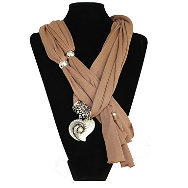 Polyester cotton Vintage heart Pattern Alloy pendant scarf necklace