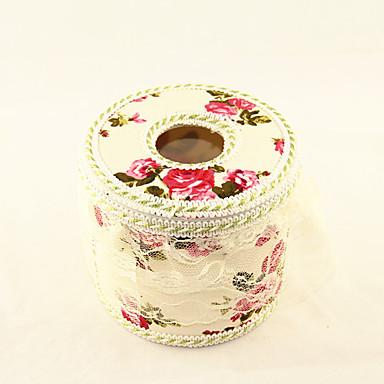 yuvarlak çiçek desen kağıt havlu saklama kutusu (rastgele renk)
