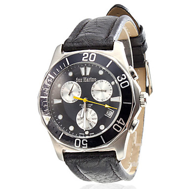 Menns Vann stil Leather Analog Mekanisk Wrist Watch (Black)