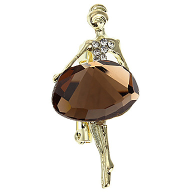 Z&X®  Women's  Ballet Girl Pattern Zircon Studded Alloy Brooch