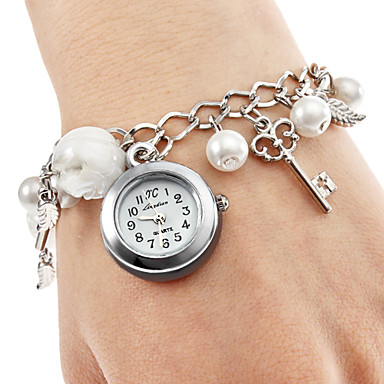 Femme Montre Tendance Bracelet de Montre Japonais Quartz Alliage Bande Perles Charme Elégantes Blanc Blanc