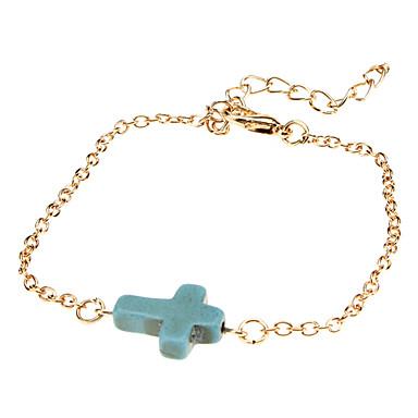 Women's Wrap Bracelet Vintage Bracelet Synthetic Gemstones Turquoise Alloy Cross Jewelry Wedding