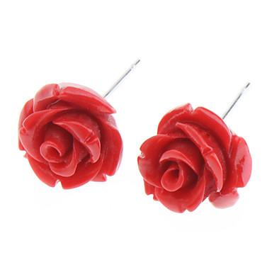 Kadın's Vidali Küpeler - Paslanmaz Çelik Güller, Çiçek Beyaz / Sarı / Kırmzı Uyumluluk Günlük