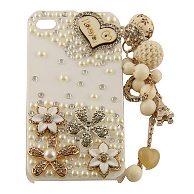Wooden Heart Pearl Zircon Flower Pattern Tassels Hard Case for iPhone 4/4S (White)
