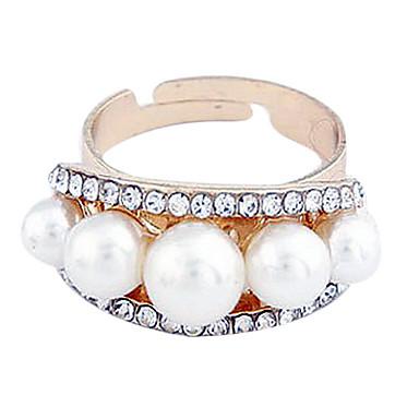 Chapado en oro circón corona de la perla de la aleación del anillo del patrón