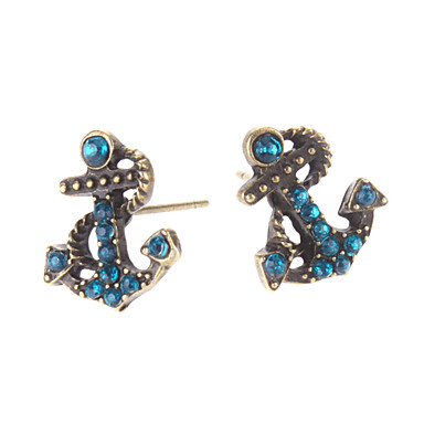 Women's Stud Earrings Luxury Imitation Diamond Alloy Anchor Jewelry Daily