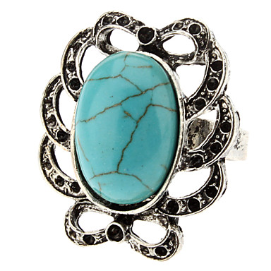 Hollow filo ondulado anillo de plata ajustable turquesa