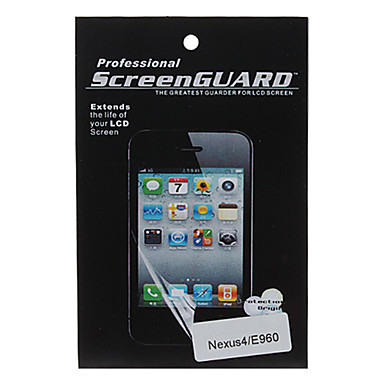 Transparent Screen Protector med Rengøringsklud til LG E960 Nexus 4