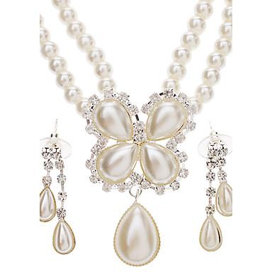 Femme Perle Ensemble de bijoux Boucles d'oreille Colliers décoratif - Luxe Mode Set de Bijoux Pour Mariage Soirée Occasion spéciale