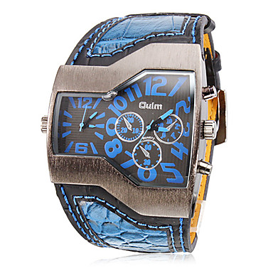 cheap Men's Watches-Oulm Men's Military Watch Wrist Watch Quartz Quilted PU Leather Black / White / Blue Dual Time Zones Analog Charm - Black Red Blue Two Years Battery Life / SOXEY SR626SW