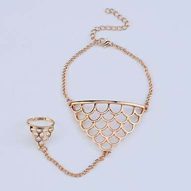 Lureme®Vintage Metal Hollow-out Fish Scale Pattern Bracelet