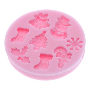 Bakeware araçları Silikon Çevre-dostu / 3D / Noel Kek / Kurabiye / Tart karikatür Şekilli Pişirme Kalıp 1pc