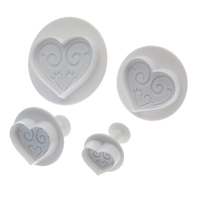 Sweet Heart Shaped Cookie Cutter with Plunger (4pcs)