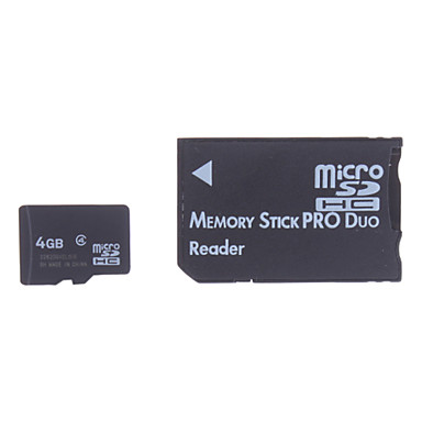 4GB Micro SD/TF SDHC Memory Card and Micro SD SDHC to MS Adapter