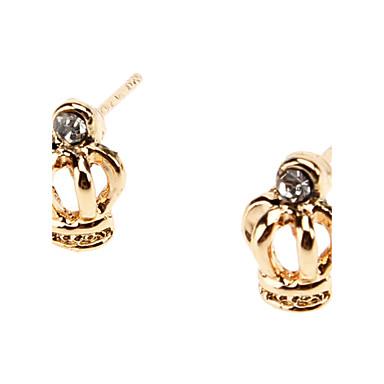 Crown Metal Diamond Stud Earrings
