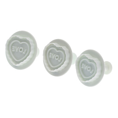 Love Heart Shaped Cookie Cutter with Plunger (3pcs)