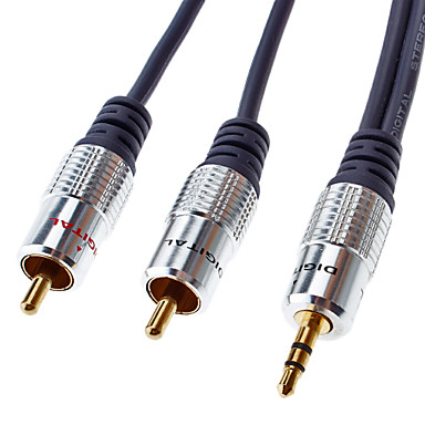 3.5mm Audio to 2RCA Cable Golden Plated(3M)