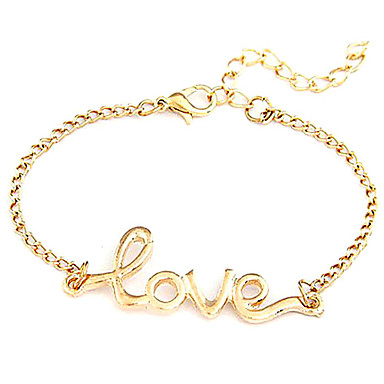 Women's Chain Bracelet Inspirational Alloy LOVE Jewelry Wedding Party Daily Costume Jewelry Black Golden