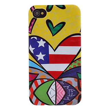IPhone 4/4S için Çizgili Kalp Desenli Şeffaf Çerçeve Hard Case