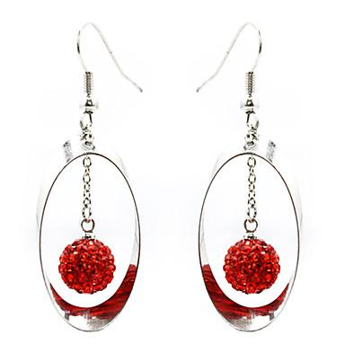Silver Plated Alloy Zircon Bead Oval Pendant Earrings(Red)