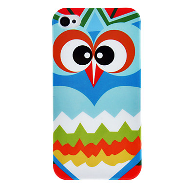 Staring Owl Pattern IMD Technology Hard Case for iPhone 4/4S