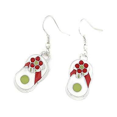 Silver Plated Slippers Shaped Alloy Earrings