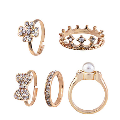Ring Daily Jewelry Alloy Women Midi Rings 1set 5pcs,8½ Gold