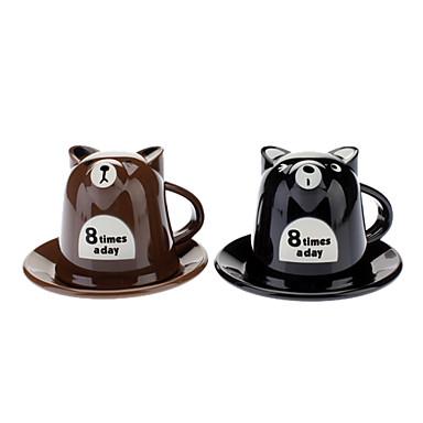 접시 만화 곰 스타일 300ML 우유 차잔 (무작위 색깔)