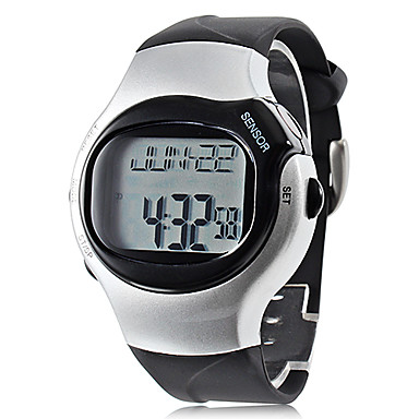 Unisexe Calorie Counter Rate Monitor caoutchouc numérique montre-bracelet automatique de modèle de coeur (noir)