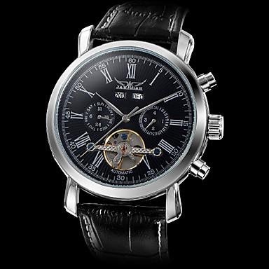 Masculino Relógio de Pulso relógio mecânico Automático - da corda automáticamente Gravação Oca Couro Banda Luxuoso Preta Branco Preto