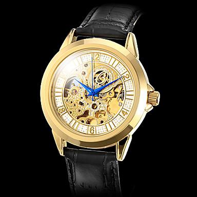 Men's Gold Case Hollow Pattern PU Analog Mechanical Wrist Watch (Assorted Colors)