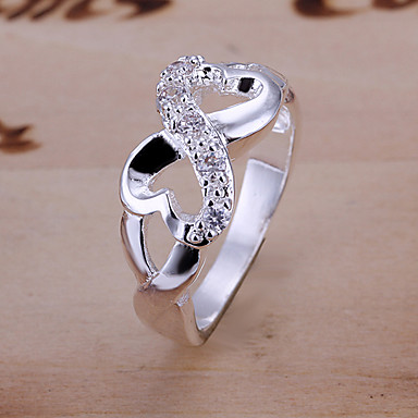 Women's Silver Plated Alloy Infinity Statement Ring - Jewelry Infinity Personalized Luxury Unique Design Silver Ring For Wedding Party