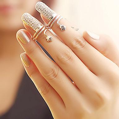 Kadın's Tırnak parmak halkası - Yapay Elmas, alaşım Çiçek Moda 6 / 7 Gümüş / Altın Uyumluluk Parti / Günlük