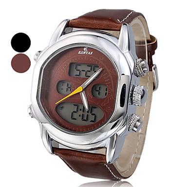 Multi-Function l'Homme analogique-numérique en acier cadran rond PU bande de montre-bracelet (couleurs assorties)