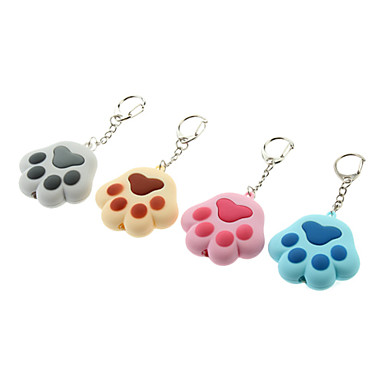 ABS Cat's Paw Shaped Keychain with LED & Voice (Random Color)
