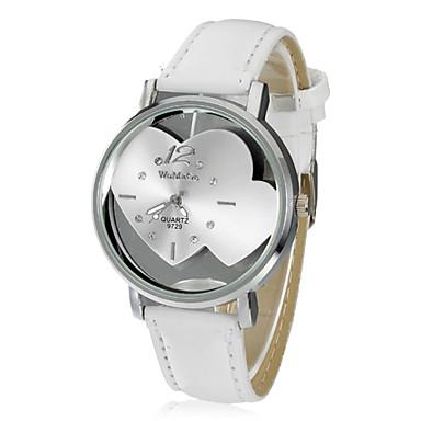 Kadın's Moda Saat Bilek Saati Elbise Saat Quartz Deri Bant Heart Shape Beyaz