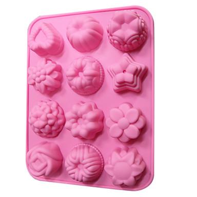 silikon kek çikolata kalıp 12 çiçekler (rastgele renk)