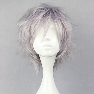 Final Fantasy Hope Estheim Peruci de Cosplay Bărbați 12 inch Fibră Rezistentă la Căldură Argintiu Anime