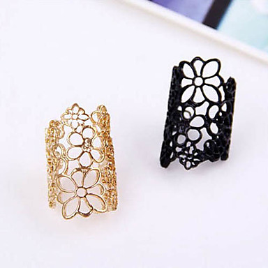 Women's Statement Ring Gold Black Lace Alloy Open Adjustable European Party Casual Costume Jewelry