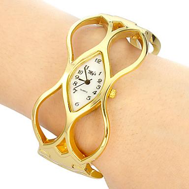 Kadın's Moda Saat Bilek Saati Bilezik Saat Quartz Derin Oyma Bant Halhal Zarif Altın Rengi