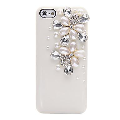 Pearl Zircon blomstermønster Metal Jewelry tilbake tilfelle for iPhone 5/5S