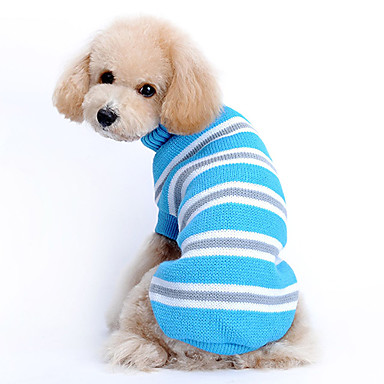 Кошка Собака Свитера Одежда для собак На каждый день Сохраняет тепло В полоску Синий Костюм Для домашних животных