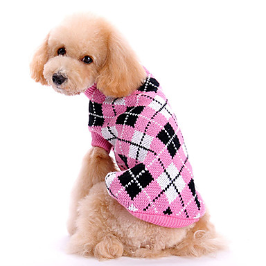 Köpek Kazaklar Köpek Giyimi Sevimli Sıcak Tutma Kareli Pembe Kostüm Evcil hayvanlar için