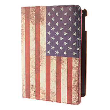 360 Degree Rotating Design American Flag Pattern PU Full Body Case with Stand for iPad Air